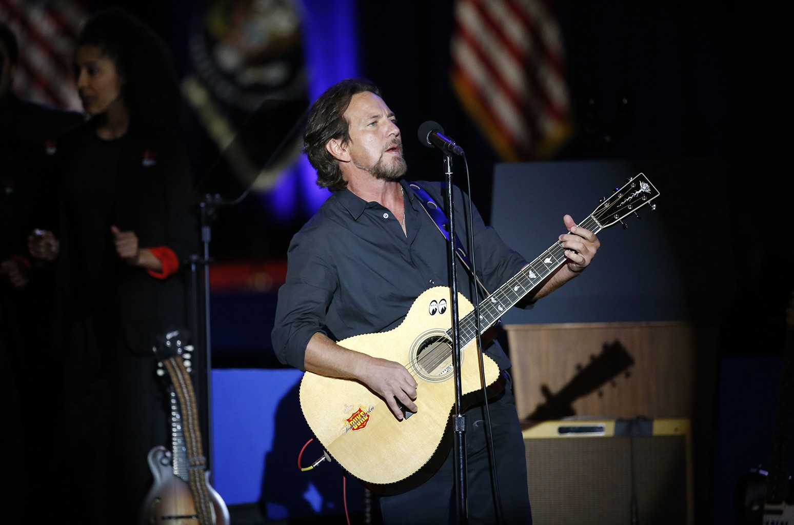 Eddie Vedder performs before President Barack Obama gives his presidential farewell address at McCormick Place in Chicago on Jan. 10, 2017.