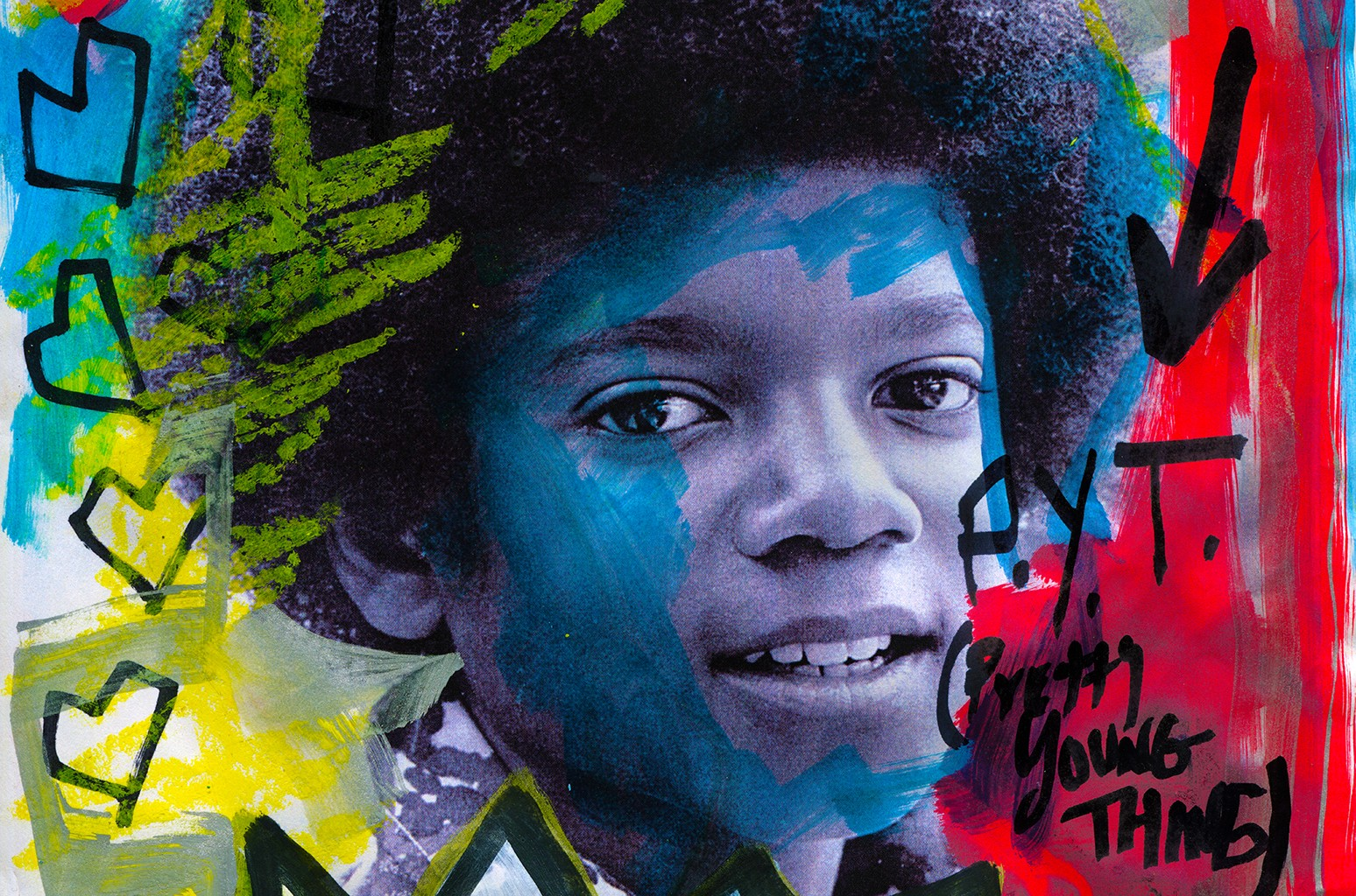 "Domingo Zapata's custom artwork for each of Eden Prince's cover of Michael Jackson's ""P.Y.T."""