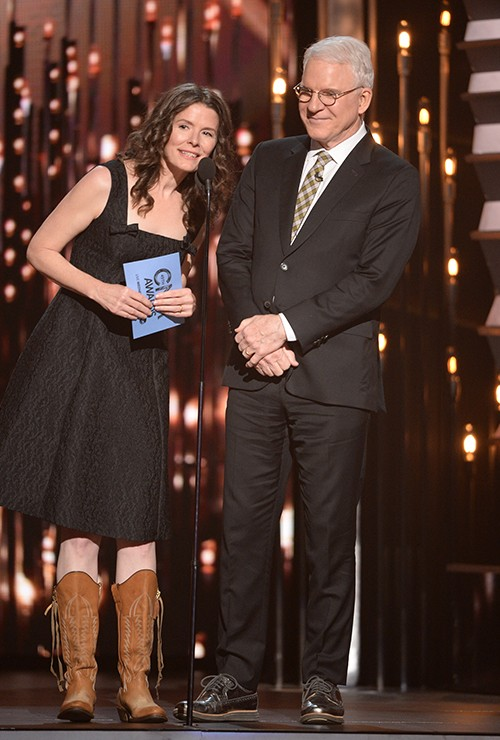 Edie Brickell and Steve Martin speak onstage at the 49th annual CMA Awards