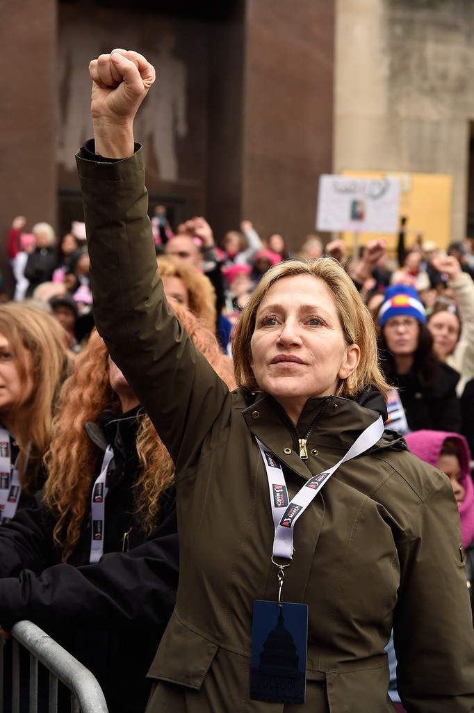 Edie Falco attends the rally at the Women's March on Washington on January 21, 2017 in Washington, DC.  (Photo by Kevin Mazur/WireImage)