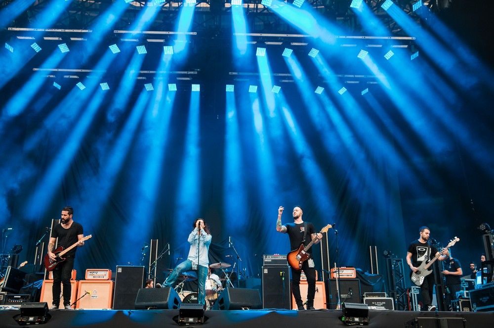 Jean Dolabella, Jonathan Correa, Raphael Miranda, Niper Boaventura and Theo van der Loo members of the band Ego Kill Talent performs live on stage at Allianz Parque on February 27, 2018 in Sao Paulo, Brazil.