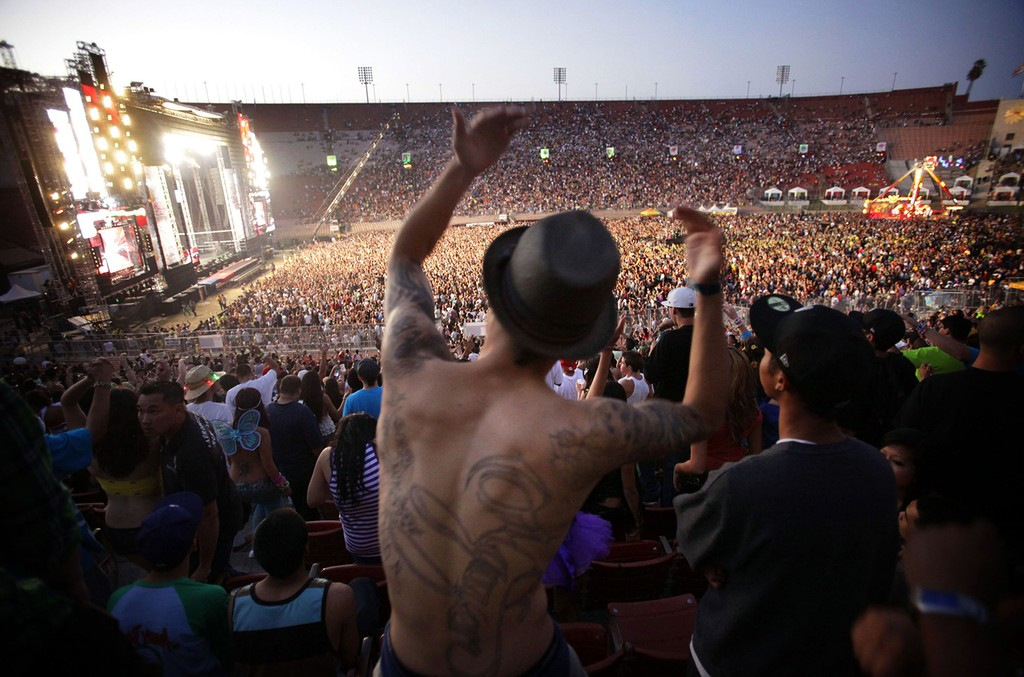 Atmosphere during the Electric Daisy Carnival on June 26, 2010 at Exposition Park and LA Coliseum in Los Angeles.