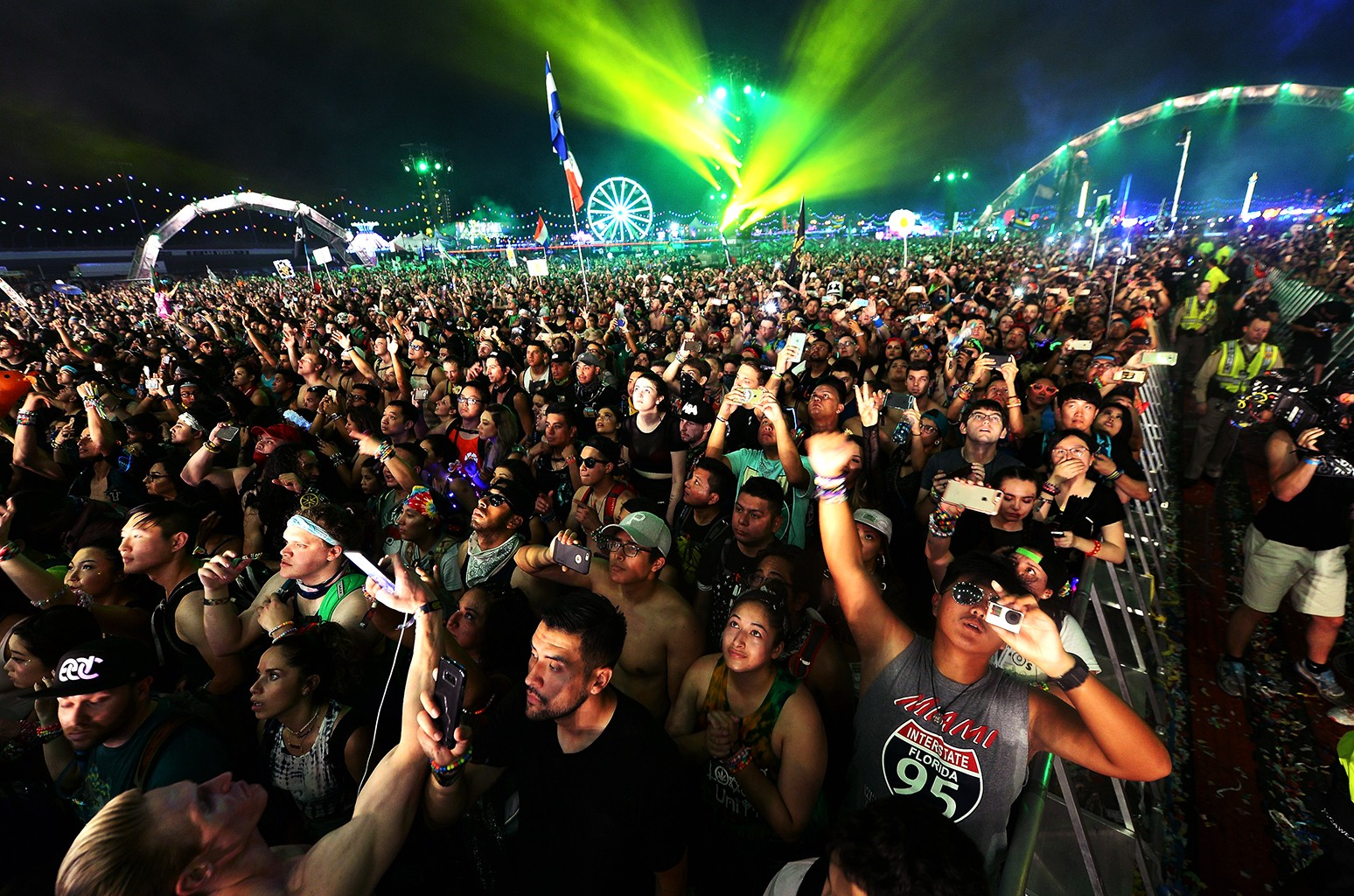 Fans react to Showtek performance during the 21st annual Electric Daisy Carnival at Las Vegas Motor Speedway on June 18, 2017 in Las Vegas.