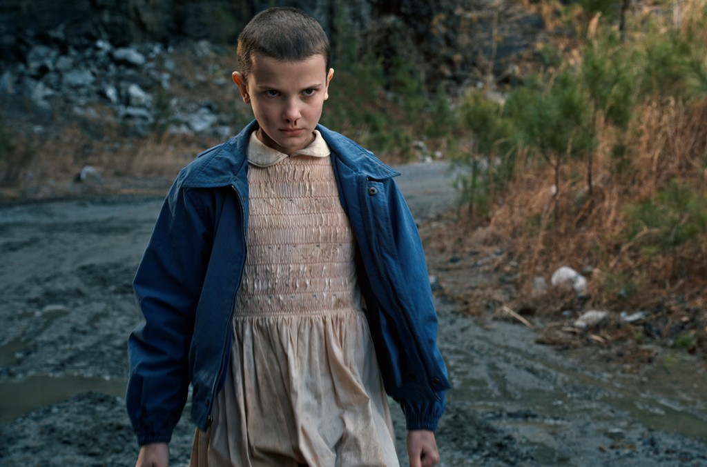 Millie Bobby Brown as Eleven on Stranger Things.
