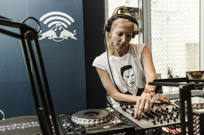 Ellen Allien is interviewed in the Red Bull Music Academy pop-up radio station, at Red Bull Guest House in Miami