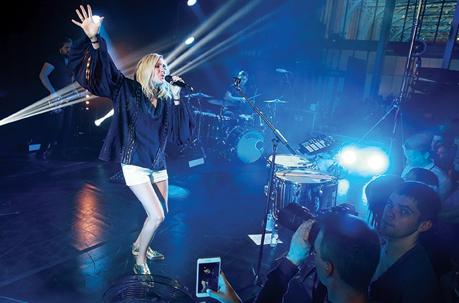 Ellie Goulding performs at the celebration of Marriott International's and Universal Music Group's global marketing partnership at the St Pancras Renaissance Hotel on June 30, 2015 in London.