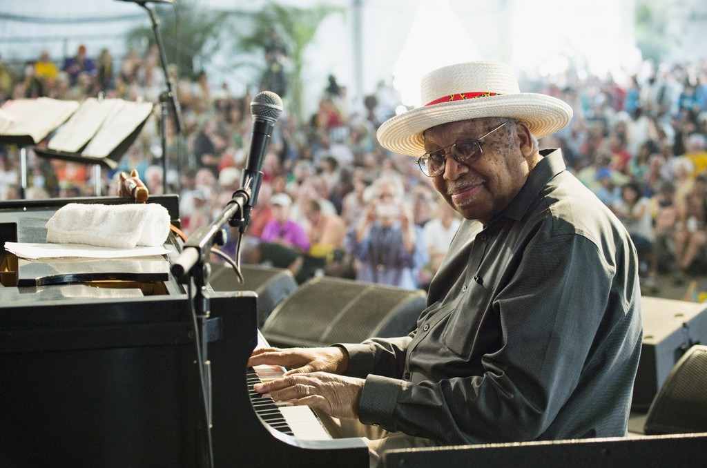 Ellis Marsalis performs during the 2017 New Orleans Jazz & Heritage Festival at Fair Grounds Race Course on May 7, 2017 in New Orleans, Louisiana.