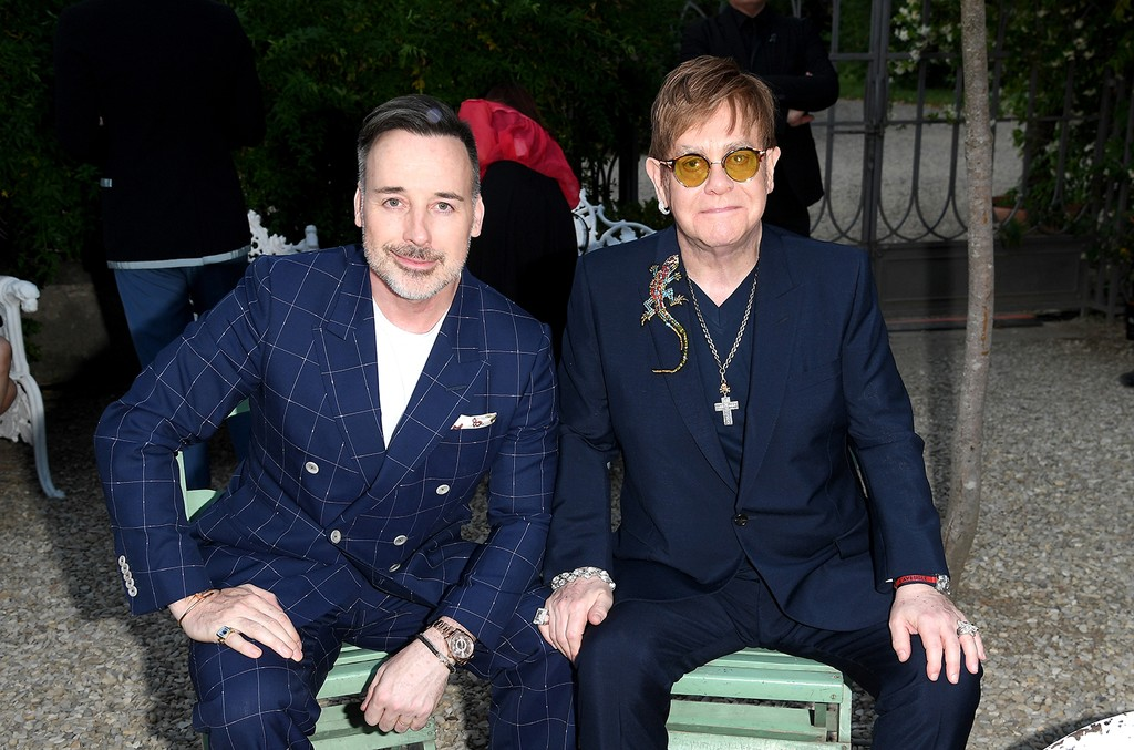 David Furnish and Elton John attend the Gucci Cruise 2018 After show party at Serre Torrigiani on May 29, 2017 in Florence, Italy.