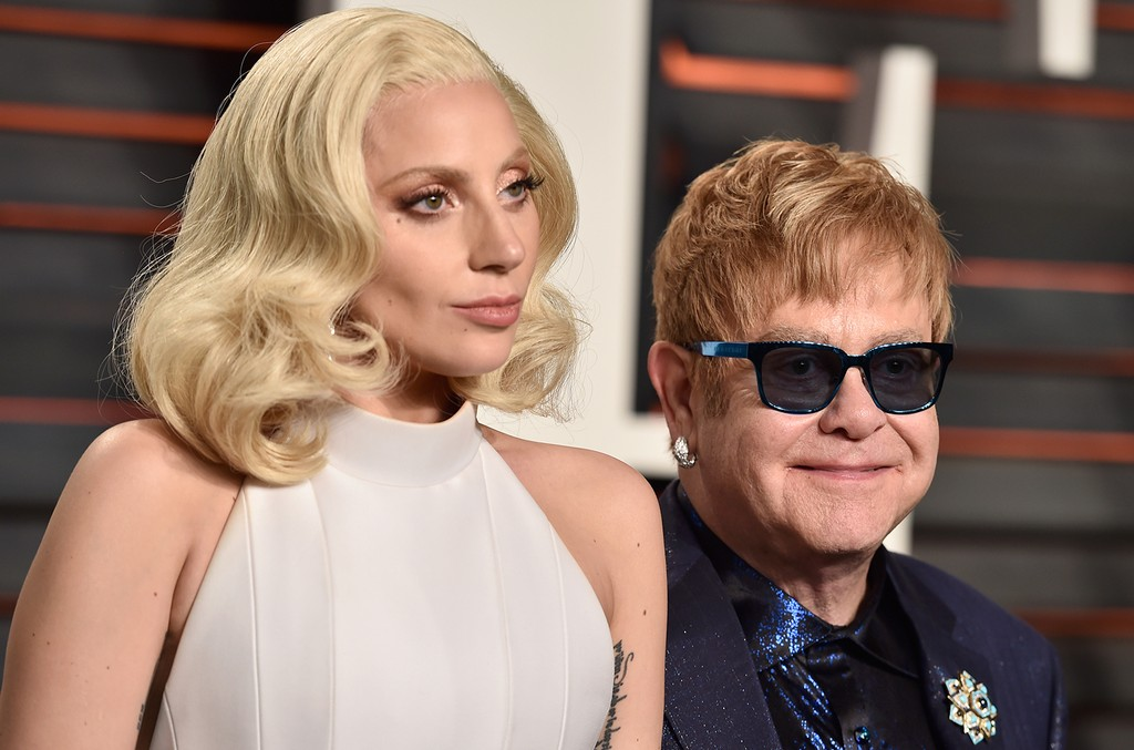 Lady Gaga and Elton John at the 2016 Vanity Fair Oscar Party