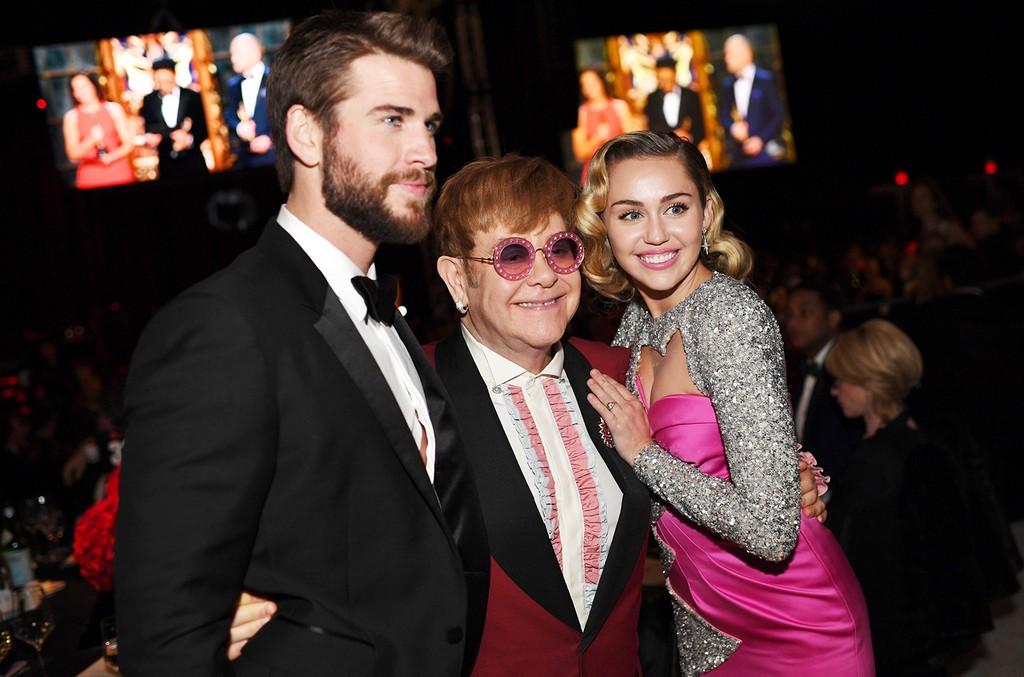 Liam Hemsworth, Sir Elton John & Miley Cyrus