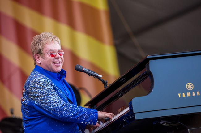 Elton John performs at the New Orleans Jazz & Heritage Festival 2015