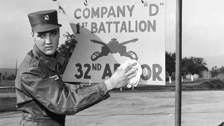 <p>Elvis Presley photographed during his military service at a US base in Germany.&nbsp&#x3B;</p>