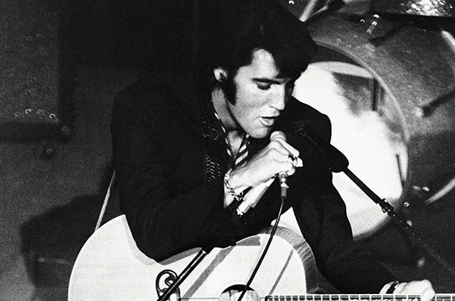 Elvis Presley performs at the Las Vegas International Hotel, August 1969.