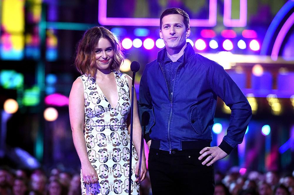 Emilia Clarke and Andy Samberg  2016 mtv movie awards