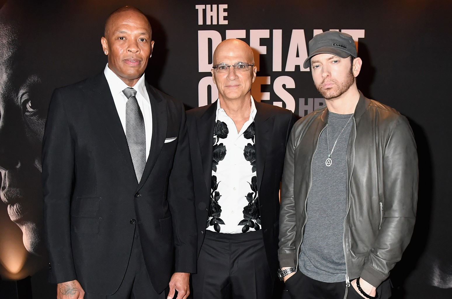 Dr. Dre, Jimmy Iovine and Eminem attend HBO's The Defiant Ones premiere at Paramount Studios on June 22, 2017 in Los Angeles.