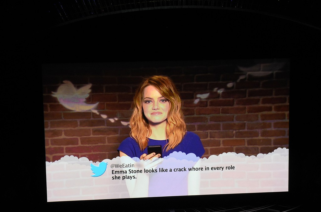 Emma Stone reads mean tweets she received on her twitter account during a video address at the 89th Oscars on Feb. 26, 2017 in Hollywood, Calif.