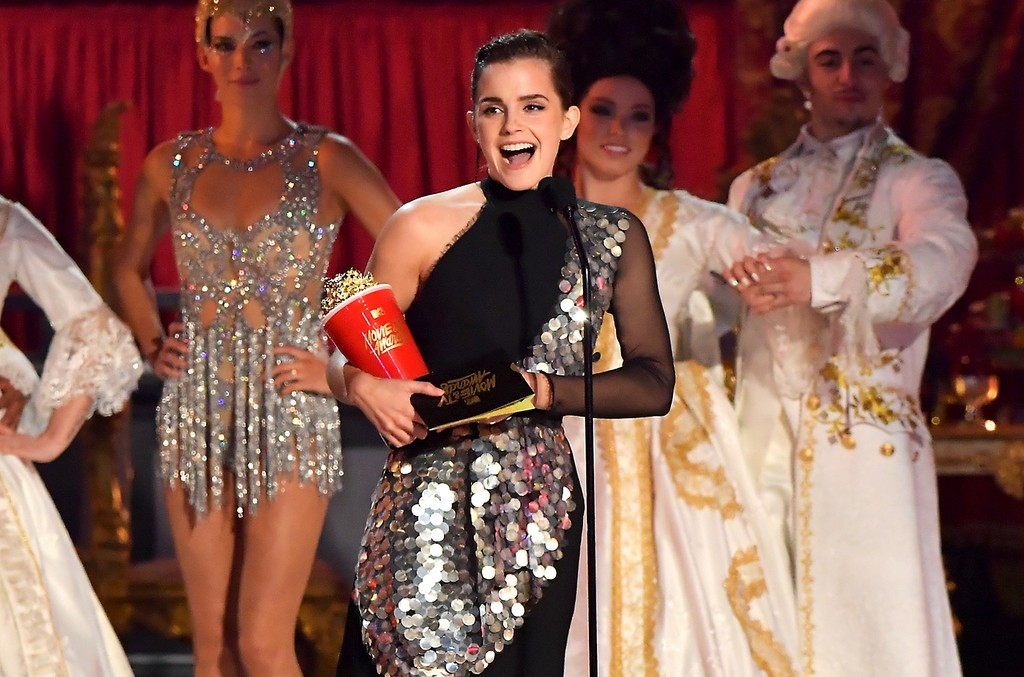Emma Watson accepts the award for Best Actor in a Movie onstage during the 2017 MTV Movie and TV Awards at The Shrine Auditorium on May 7, 2017 in Los Angeles.