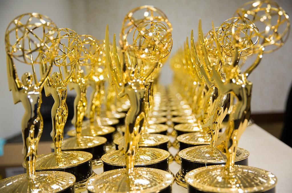 Emmy trophies on display in Los Angeles.