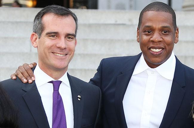 Eric Garcetti and Jay Z