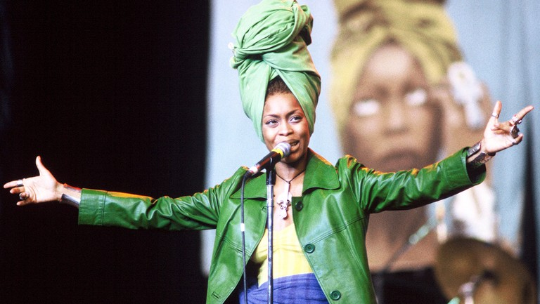 <p>Erykah Badu performing at Shoreline Amphitheater&nbsp&#x3B;on July 27, 1997 in Mountain View, Calif.</p>