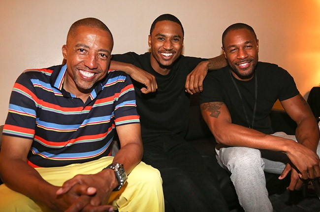 Kevin Liles, Trey Songz, and Tank backstage at the 2014 Essence Music Festival