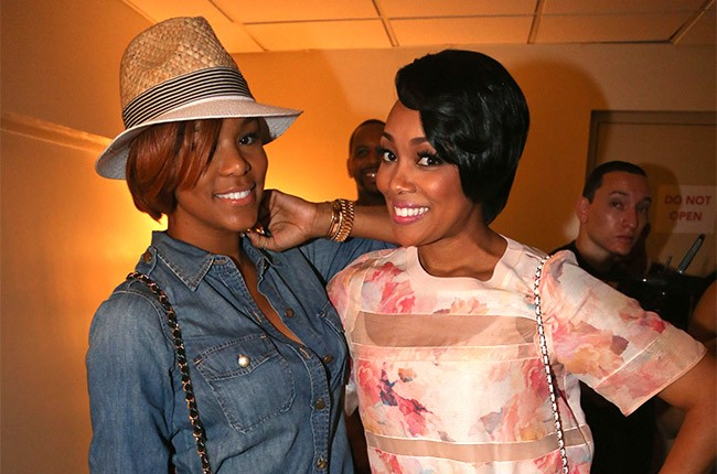 Letoya Luckett and Monica backstage at the 2014 Essence Music Festival