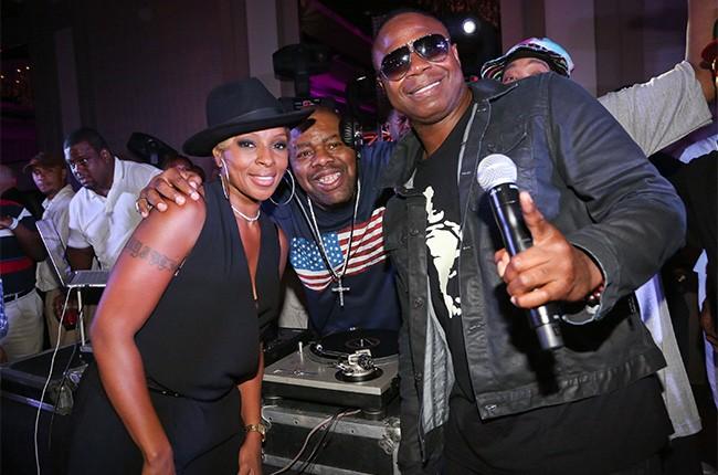 Mary J. Blige, Biz Markie, and Doug E. Fresh backstage at the 2014 Essence Music Fest