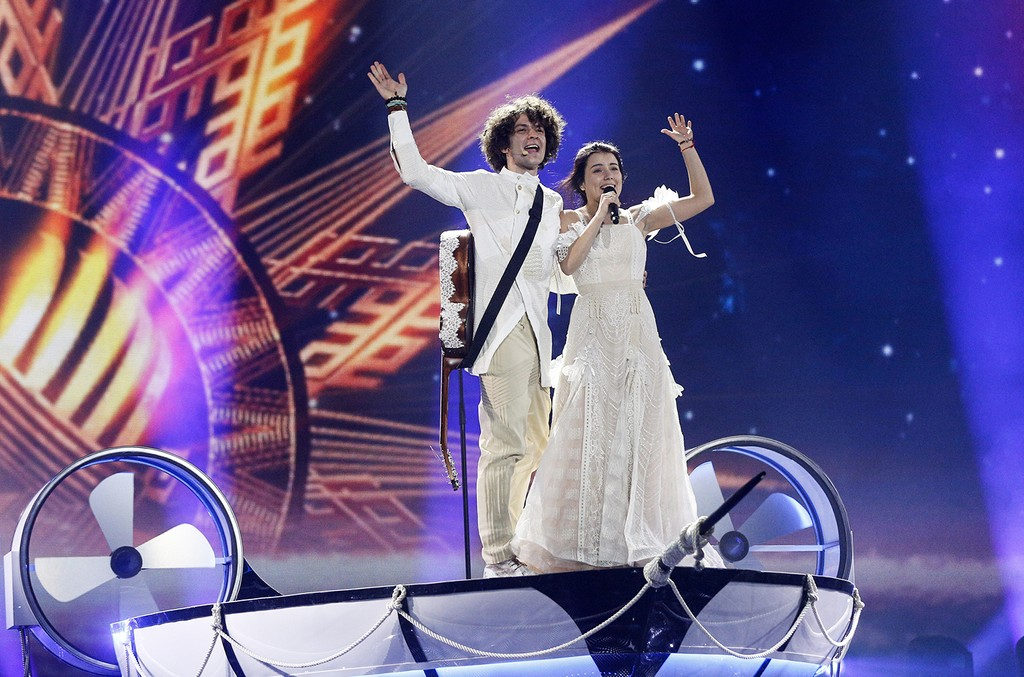 """NaviBand from Belarus performs the song """"Historyja Majho Zyccia"""" during rehearsals for the Eurovision Song Contest in Kiev, Ukraine on May 10, 2017."""