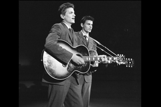 The Everly Brothers perform in 1957