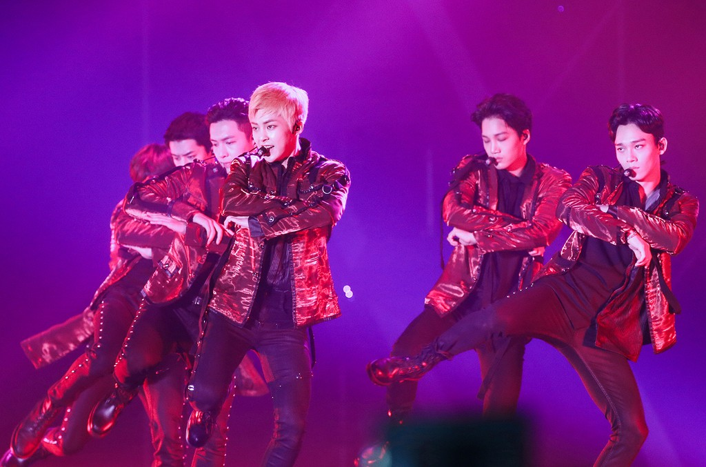 EXO perform during EXO Planet #3 - The EXO'rdium concert at AsiaWorld-Expo on Feb. 12, 2017 in Hong Kong, China.