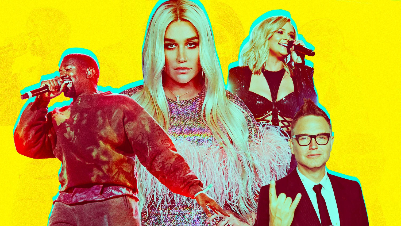 Kanye West, Kesha, Miranda Lambert and Mark Hoppus of Blink-182
