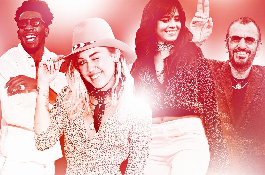 (L-R) Desiigner, Miley Cyrus, Camila Cabello & Ringo Starr