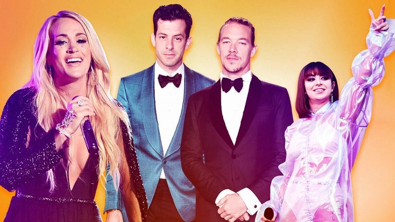 <p>Carrie Underwood, Mark Ronson, Diplo &amp&#x3B; Charli XCX</p>