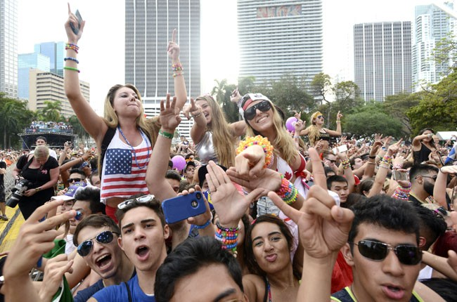 Fans cheer as Diplo performs during the Ultra Music Festival