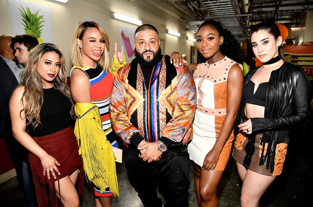 DJ Khaled with Ally Brooke, Dinah Jane, Normani Kordei, and Lauren Jauregui of Fifth Harmony at Nickelodeon's 2017 Kids' Choice Awards at USC Galen Center on March 11, 2017 in Los Angeles.