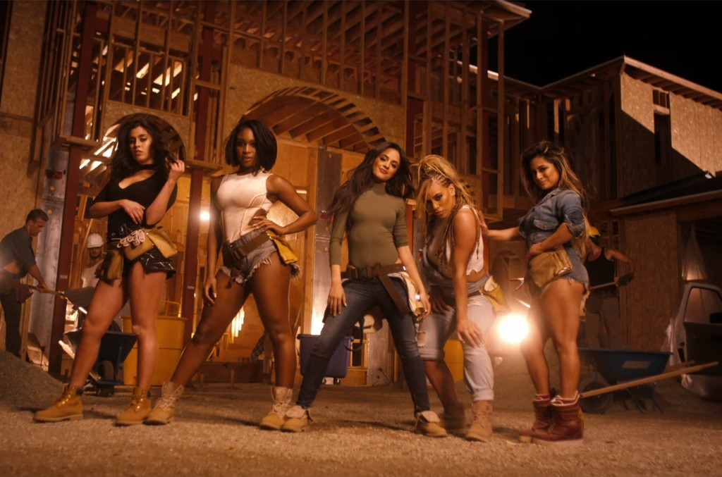 "Fifth Harmony in the video for ""Work From Home."""