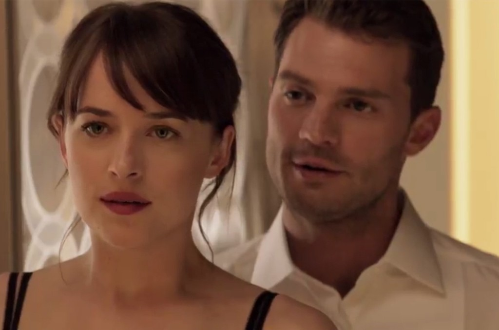 Dakota Johnson and Jamie Dornan in the trailer for Fifty Shades Darker.