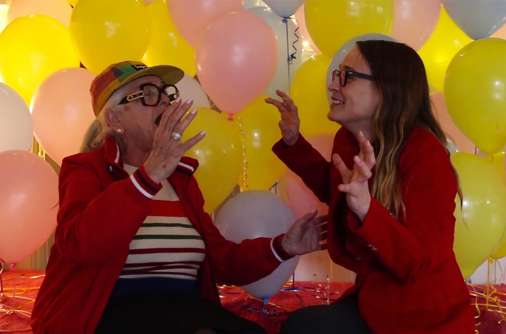"""Video still of Lili Hayes teaching Fiona Apple her favorite song, """"Can't Take My Eyes off You"""""""