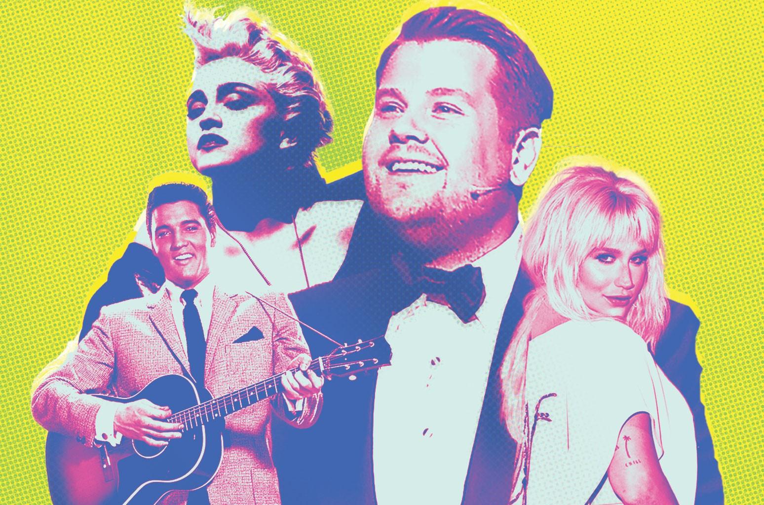 James Corden, Madonna, Elvis Presley & Kesha