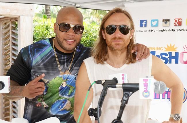 Flo Rida and David Guetta attend SiriusXM ultra miami 2015