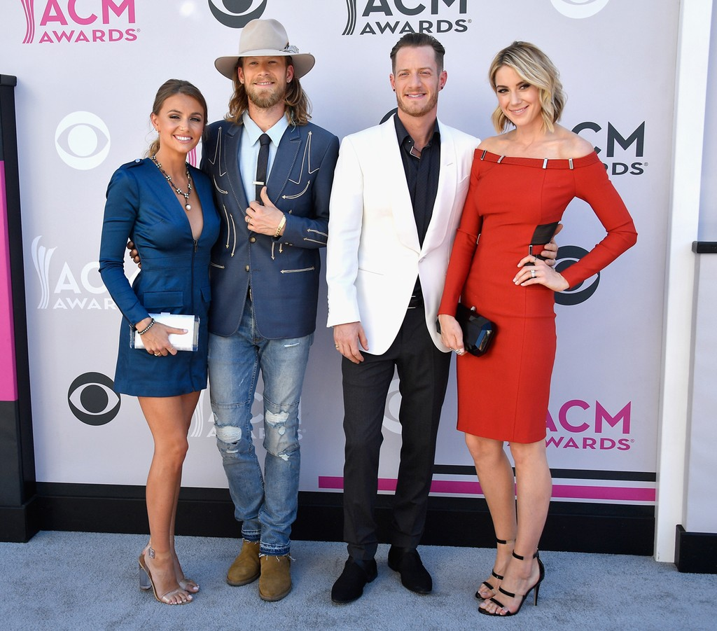 (L-R) Brittney Marie Cole, Brian Kelley and Tyler Hubbard of Florida Georgia Line, and Hayley Stommel attend the 52nd Academy Of Country Music Awards at Toshiba Plaza on April 2, 2017 in Las Vegas.