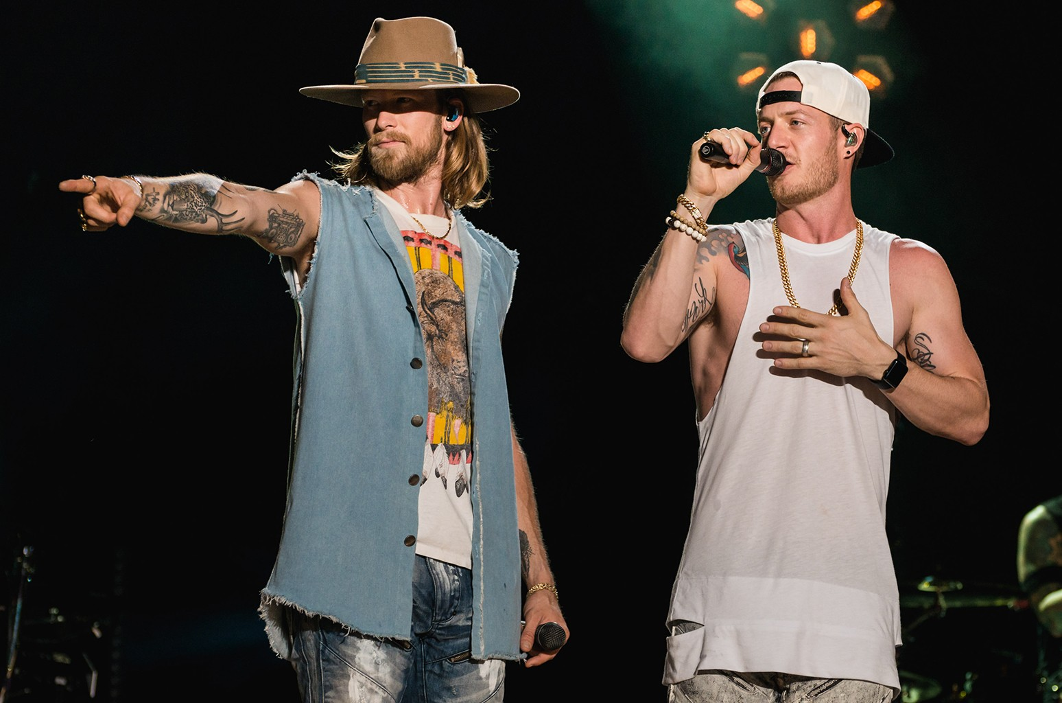 Brian Kelley and Tyler Hubbard of Florida Georgia Line perform at Nissan Stadium during day 3 of the 2017 CMA Music Festival on June 10, 2017 in Nashville, Tenn.