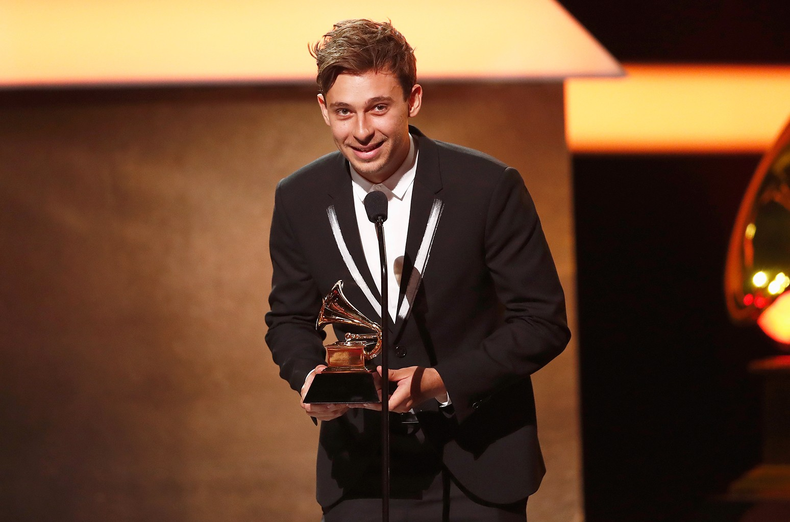 Flume accepts the Best Dance/Electronic Album award for 'Skin' onstage at the Premiere Ceremony during the 59th Grammy Awards at Microsoft Theater on Feb. 12, 2017 in Los Angeles.