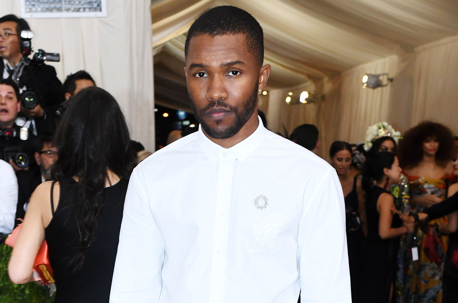 Frank Ocean arrives at the the Costume Institute Benefit celebrating the opening of Rei Kawakubo/Comme des Garcons: Art of the In-Between at The Metropolitan Museum of Art in New York City on May 1, 2017.