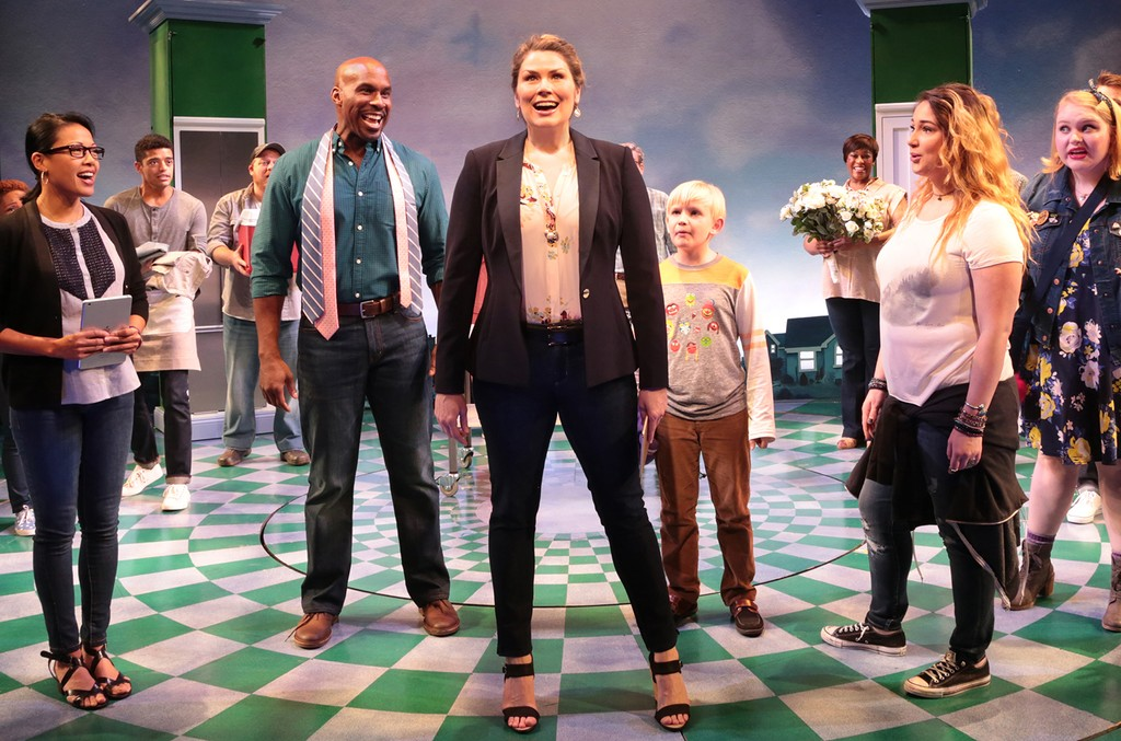 "Heidi Blickenstaff and the cast of ""Freaky Friday"" at Signature Theatre in New York City."