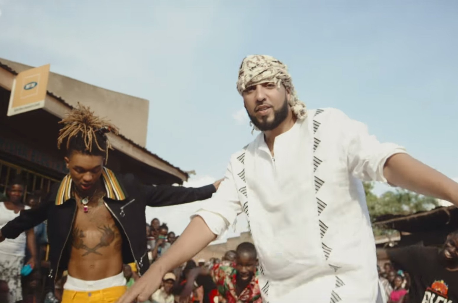 """French Montana and Swae Lee in the video for """"Unforgettable."""""""