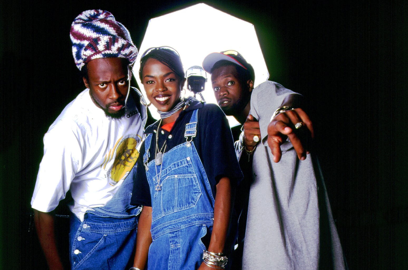 Wyclef Jean, Lauryn Hill and Praz of the Fugees photographed on Aug. 16, 1996 in Chicago.
