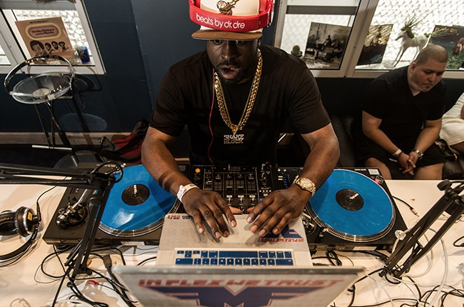 Funkmaster Flex is interviewed, and performs a mini set, in the Red Bull Music Academy pop-up radio station, at Red Bull Guest House in Miami,