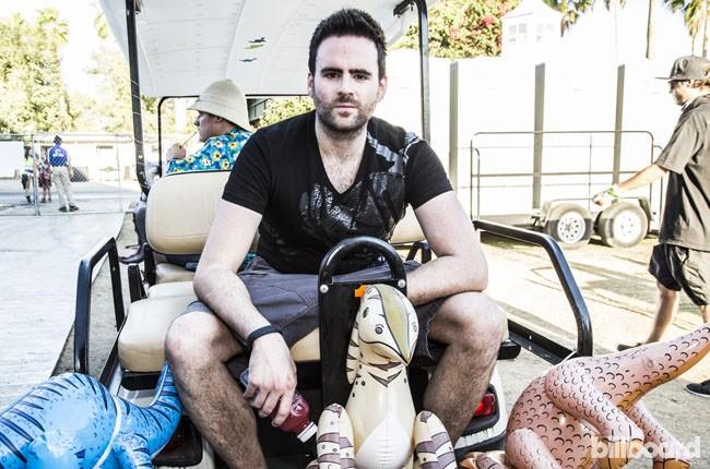 Gareth Emery hitches a ride backstage during Coachella