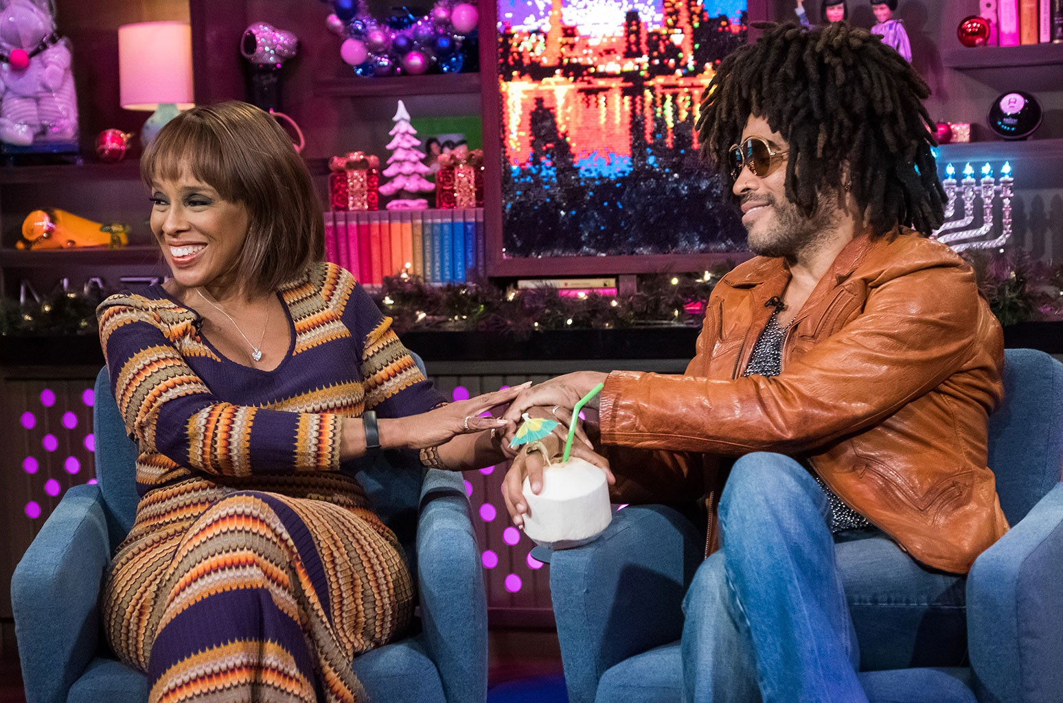 Gayle King and Lenny Kravitz
